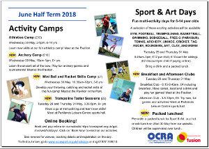 Summer half term holiday programme 2018